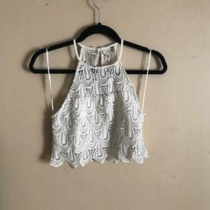 LA Hearts | Size M. Crocheted Lace Cropped Tank